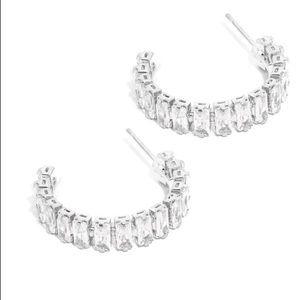 Clear rhinestone hoop earrings